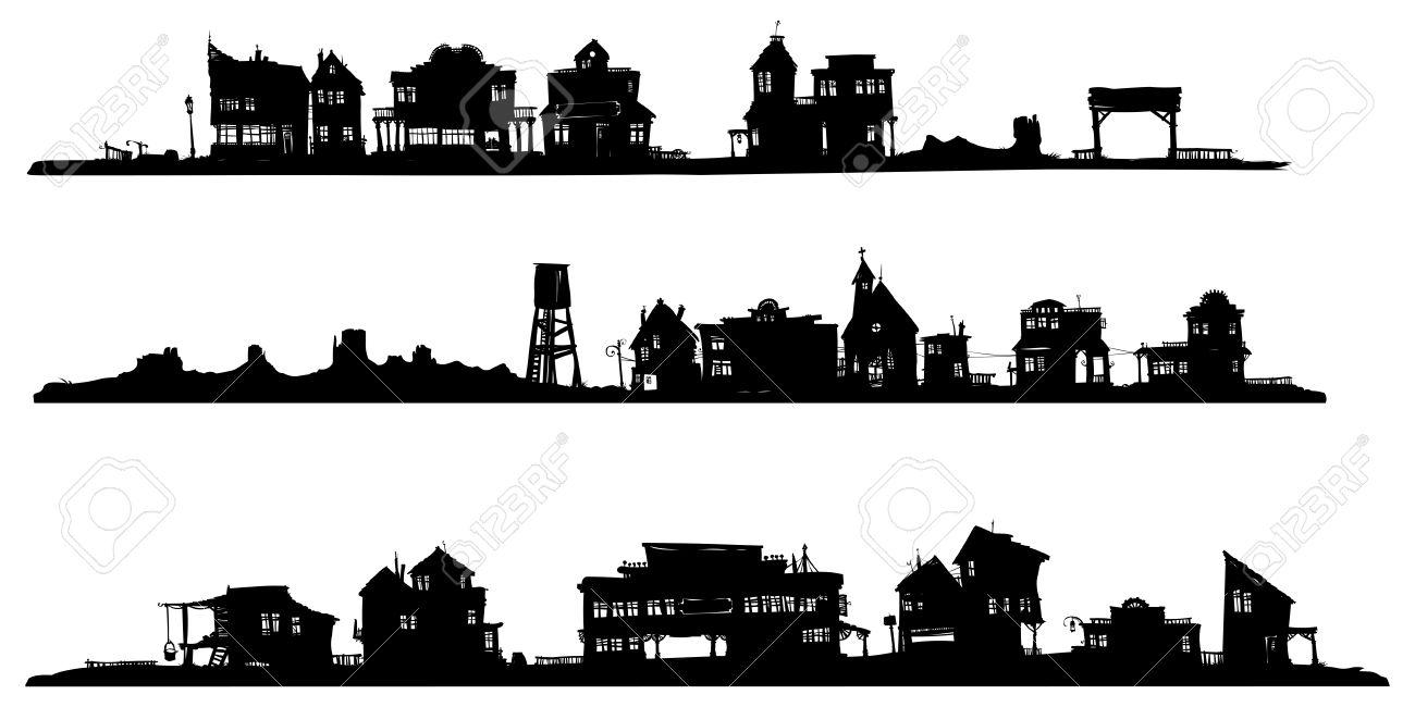 western style buildings silhouette
