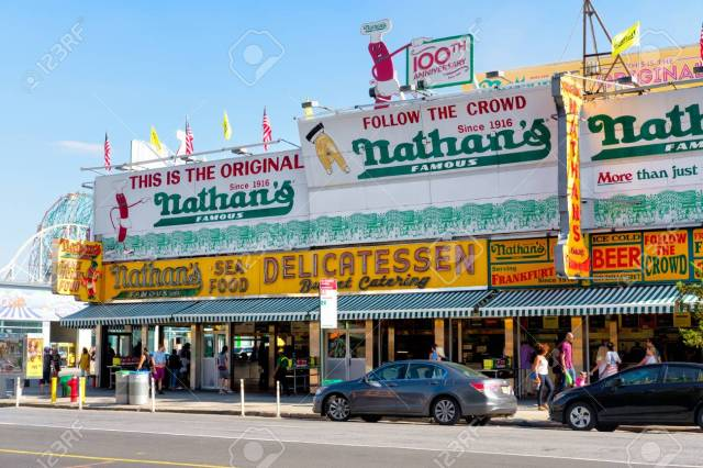 The Original Nathan's Famous Hot Dogs Restaurant In Coney Island ...