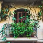 Retro Balcony With Plants On Mediterranean Facade And Architecture Stock Photo Picture And Royalty Free Image Image 131875442