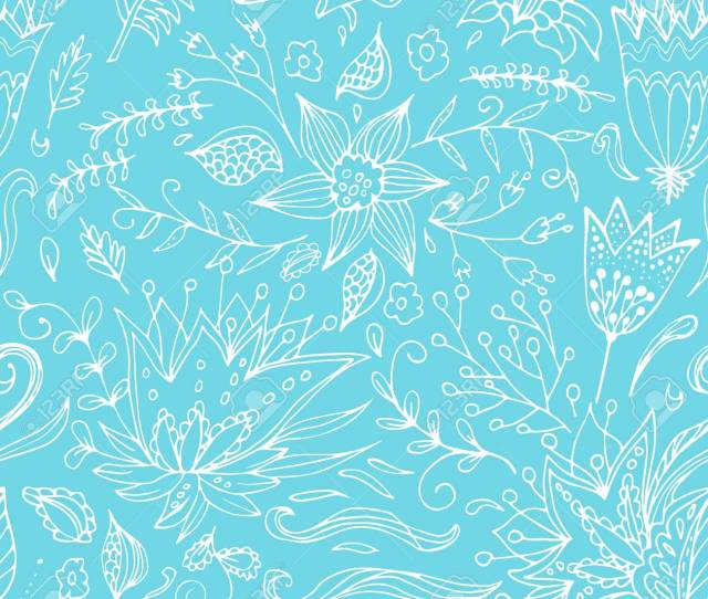 Abstract Elegance Seamless Floral Pattern On A Blue Background Beautiful Flower Texture Vector Illustration