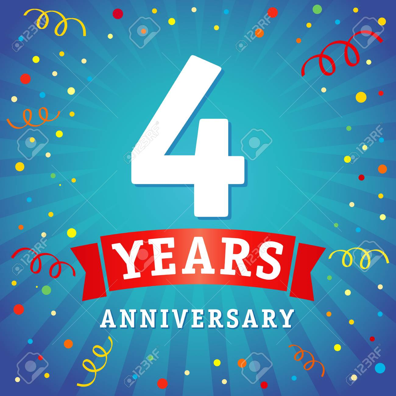 4 Years Anniversary Logo Celebration Card 4th Anniversary Anniversary Royalty Free Cliparts Vectors And Stock Illustration Image 81961778