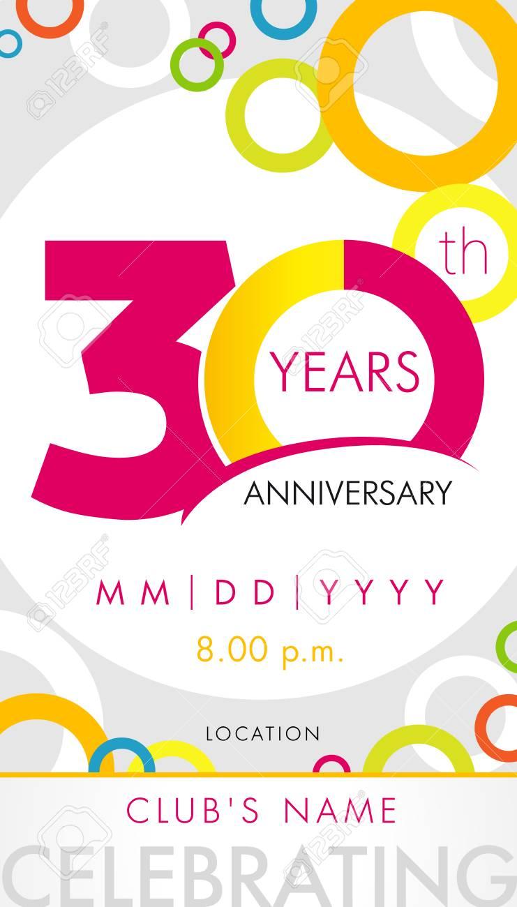 carte d invitation anniversaire 30 ans concept de modele de celebration elements de design moderne 30e anniversaire avec des cercles de couleur de