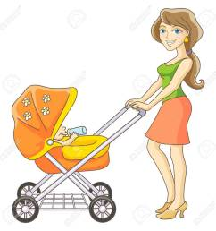 vector young mother and baby stroller happy mom and baby isolated vector illustration [ 1300 x 1300 Pixel ]