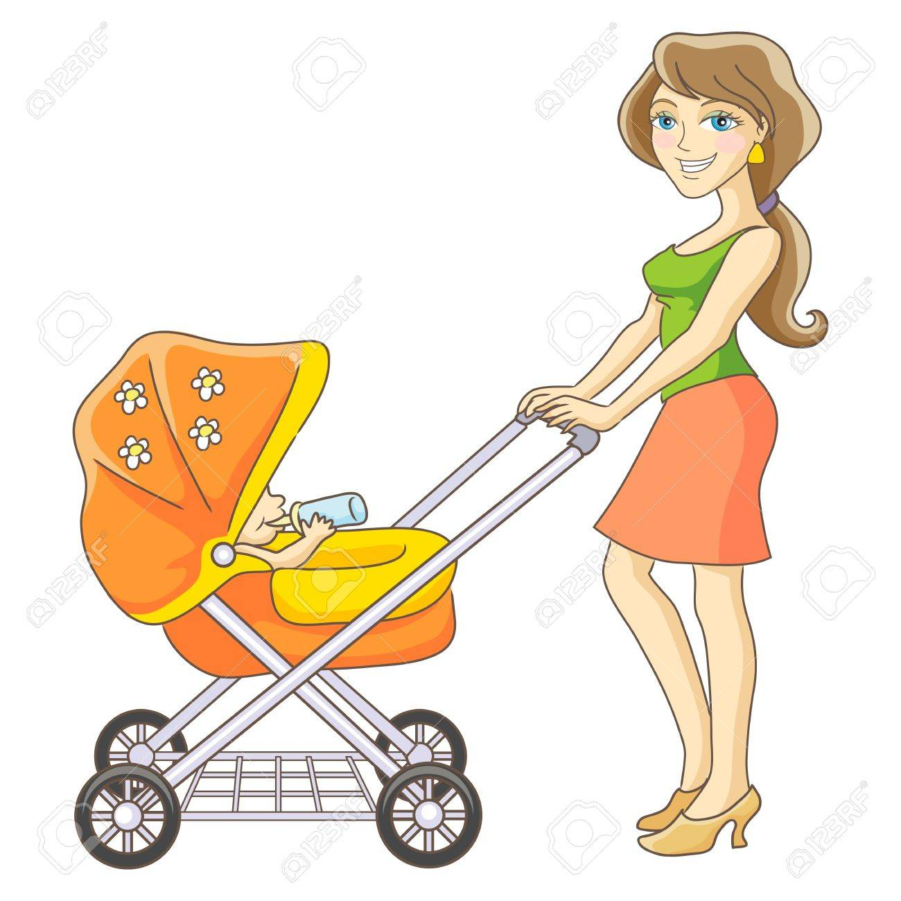 hight resolution of vector young mother and baby stroller happy mom and baby isolated vector illustration