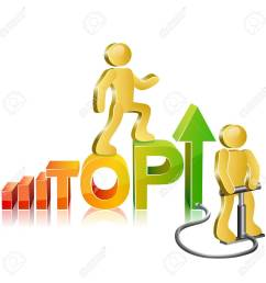 human walking up on diagram the word top stylized as diagram to the pinnacle of success [ 1300 x 1300 Pixel ]