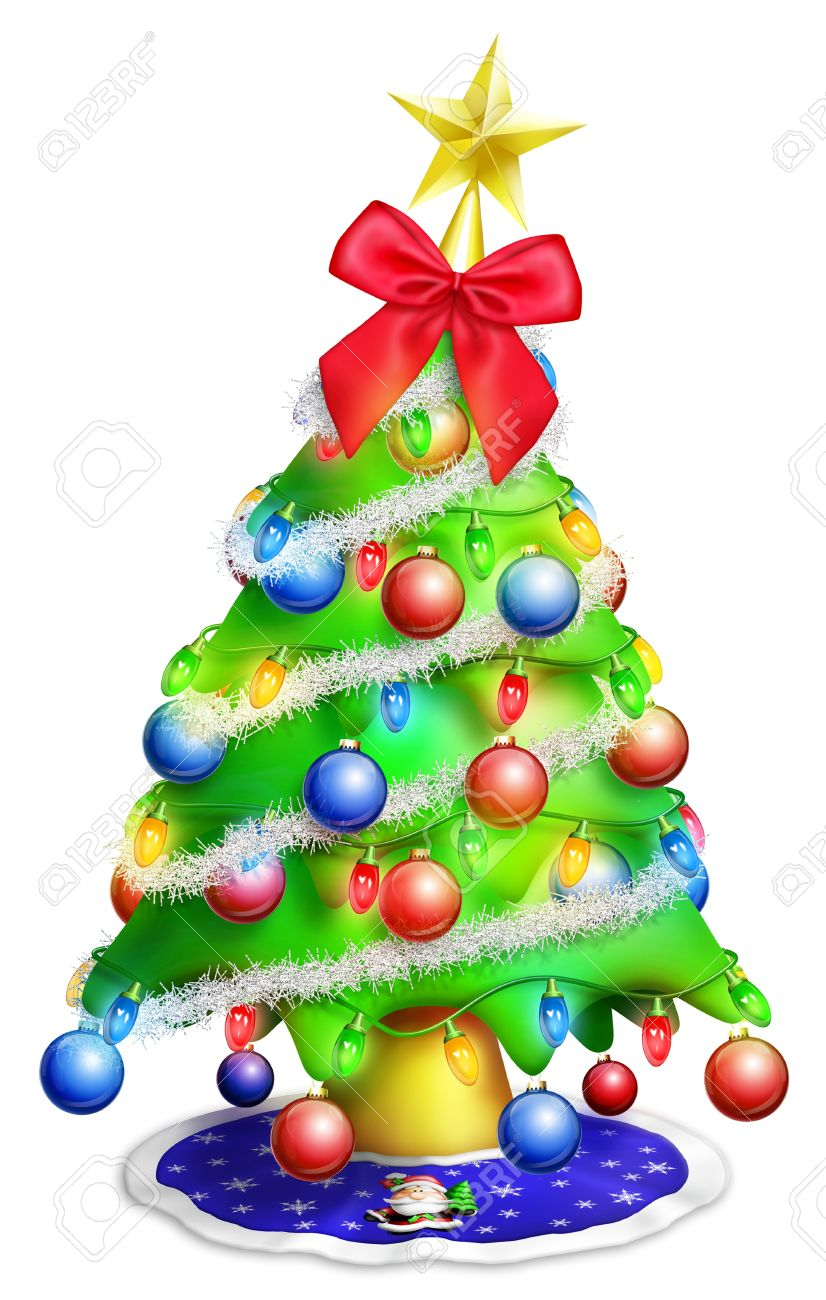 Cartoon Christmas Tree With Ornaments Stock Photo Picture And Royalty Free Image Image 14963857