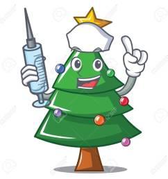 nurse christmas tree character cartoon vector illustration stock vector 91244948 [ 1300 x 1300 Pixel ]