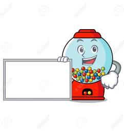 vector with board gumball machine character cartoon [ 1300 x 1300 Pixel ]