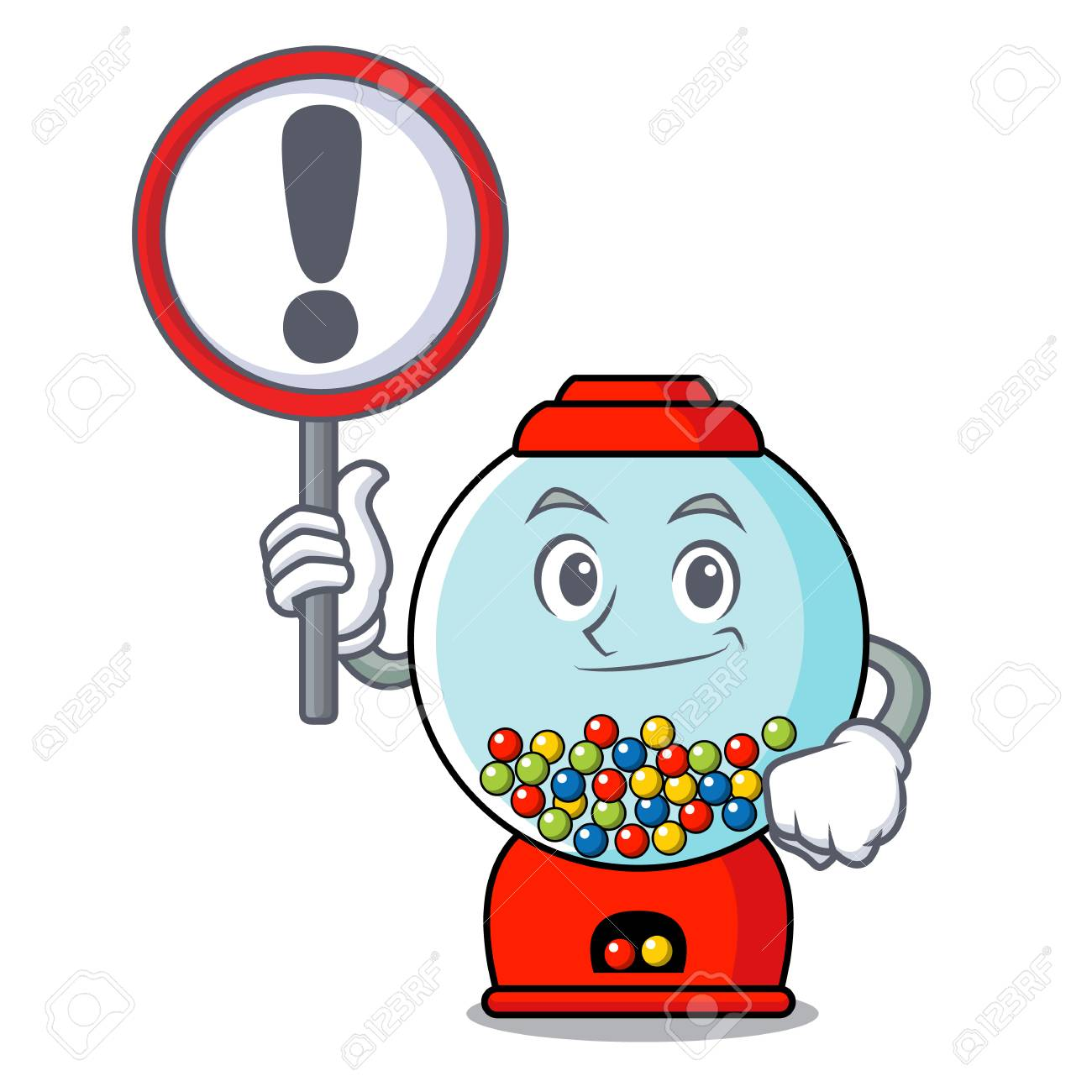 hight resolution of vector with sign gumball machine character cartoon