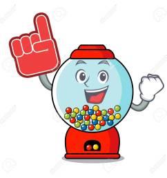 foam finger gumball machine mascot cartoon vector illustration stock vector 103552210 [ 1300 x 1300 Pixel ]