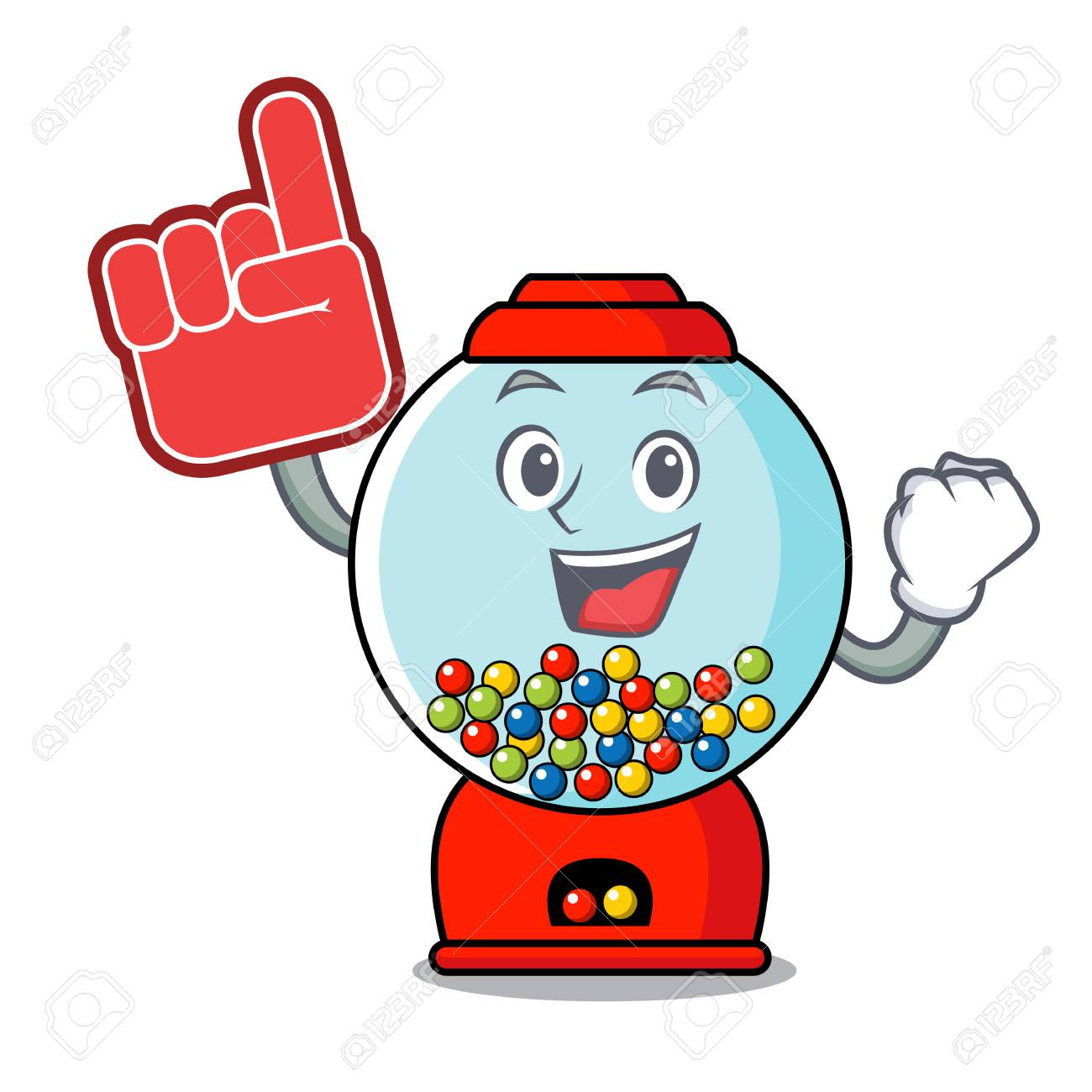hight resolution of foam finger gumball machine mascot cartoon vector illustration stock vector 103552210
