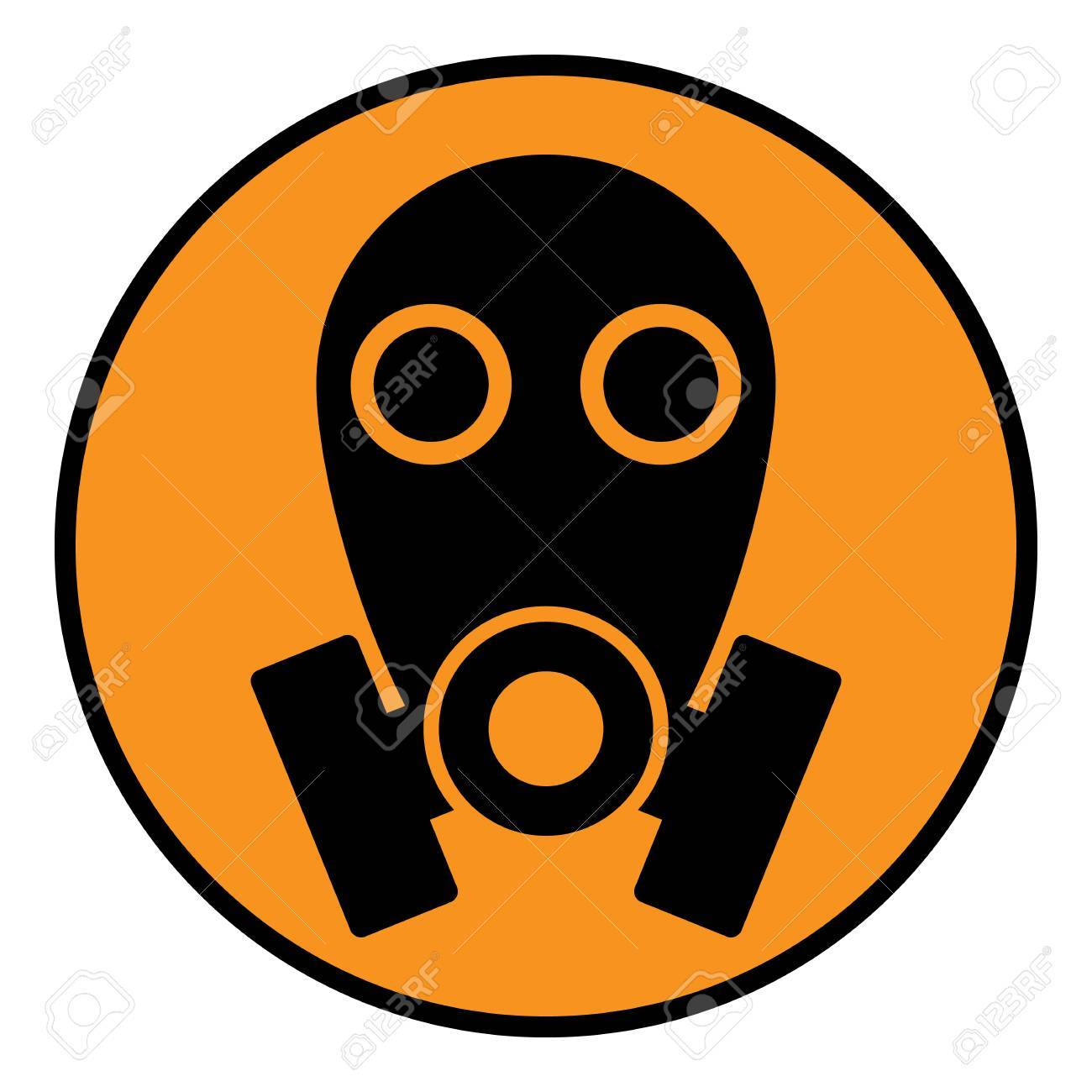 gas mask sign on