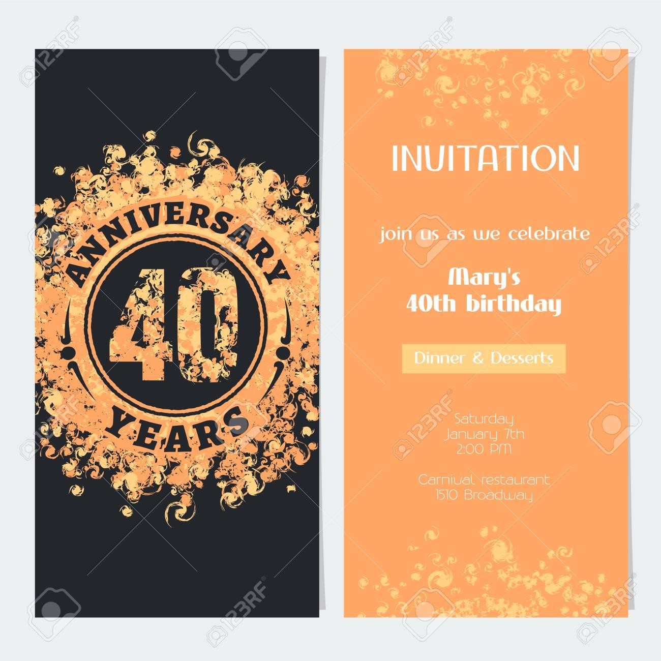 invitation anniversaire de 40 ans a l illustration vectorielle de celebration evenement element de design avec numero de couleur or et texte pour la