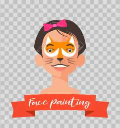 kid with fox face painting vector illustrations on transparent background child face with animal makeup [ 1300 x 1300 Pixel ]
