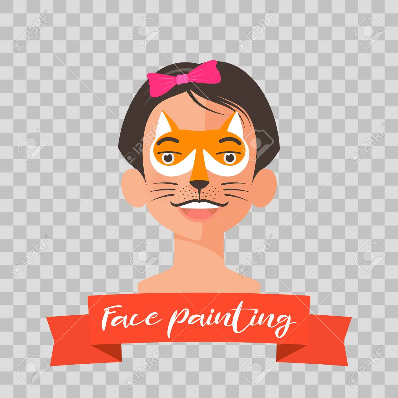 hight resolution of kid with fox face painting vector illustrations on transparent background child face with animal makeup