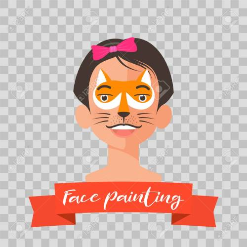 small resolution of kid with fox face painting vector illustrations on transparent background child face with animal makeup