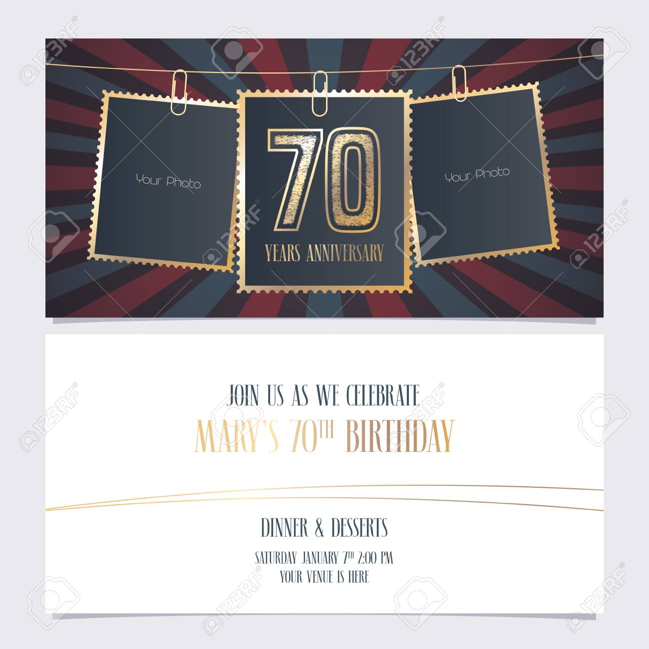 70 years anniversary party invitation vector template illustration