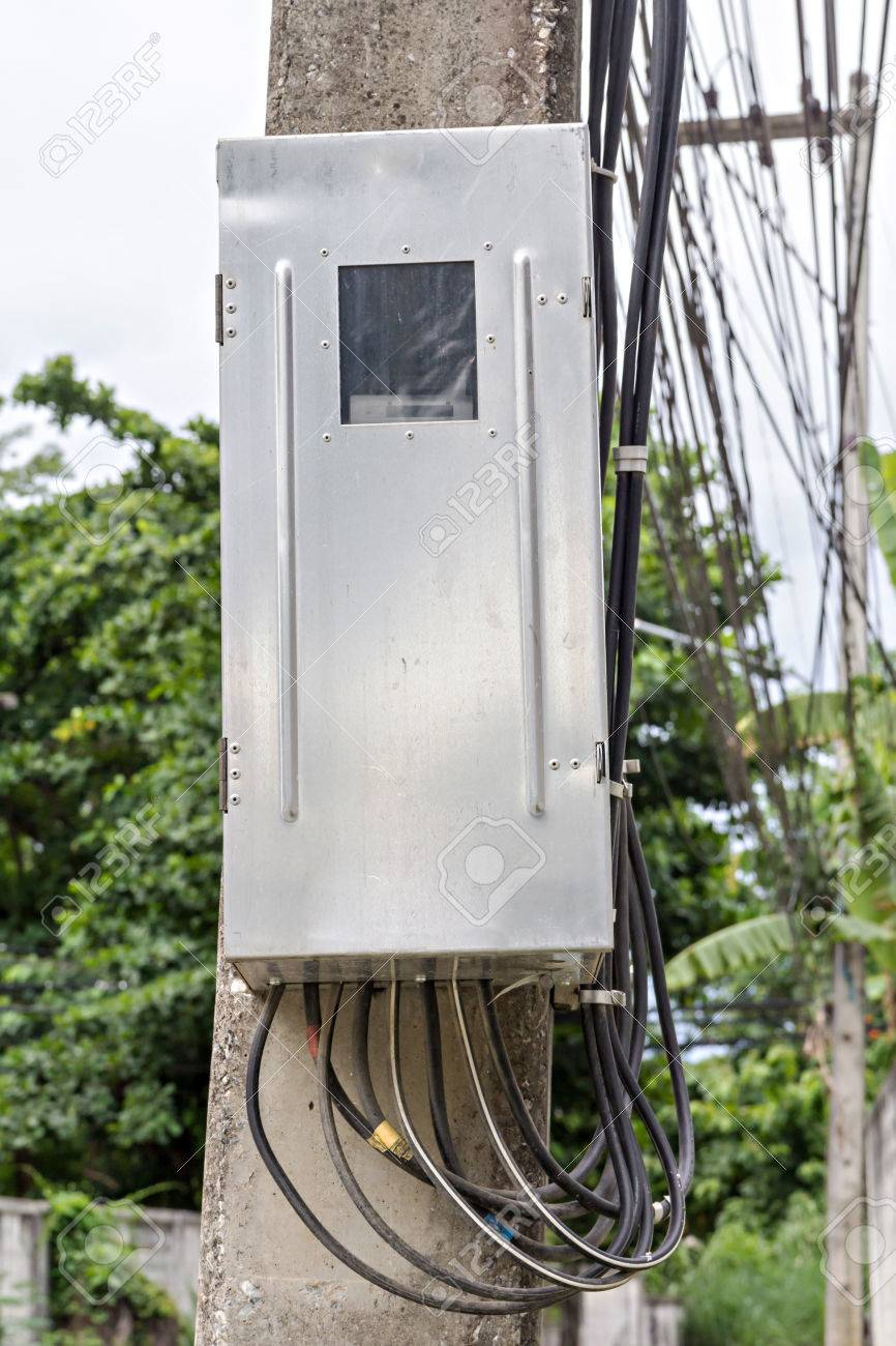 medium resolution of main circuit box breaker on electricity post junction box stock photo 43687373