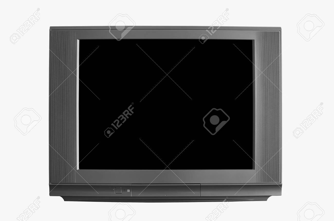 moderne television noir blanc ou tv et affichage de l ecran noir sur fond blanc isole inclus l affichage du trace de detourage et le corps
