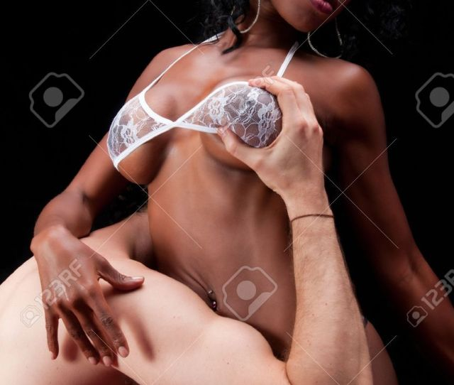 Multiracial Couple In Sensual Erotic Foreplay Stock Photo 8025419