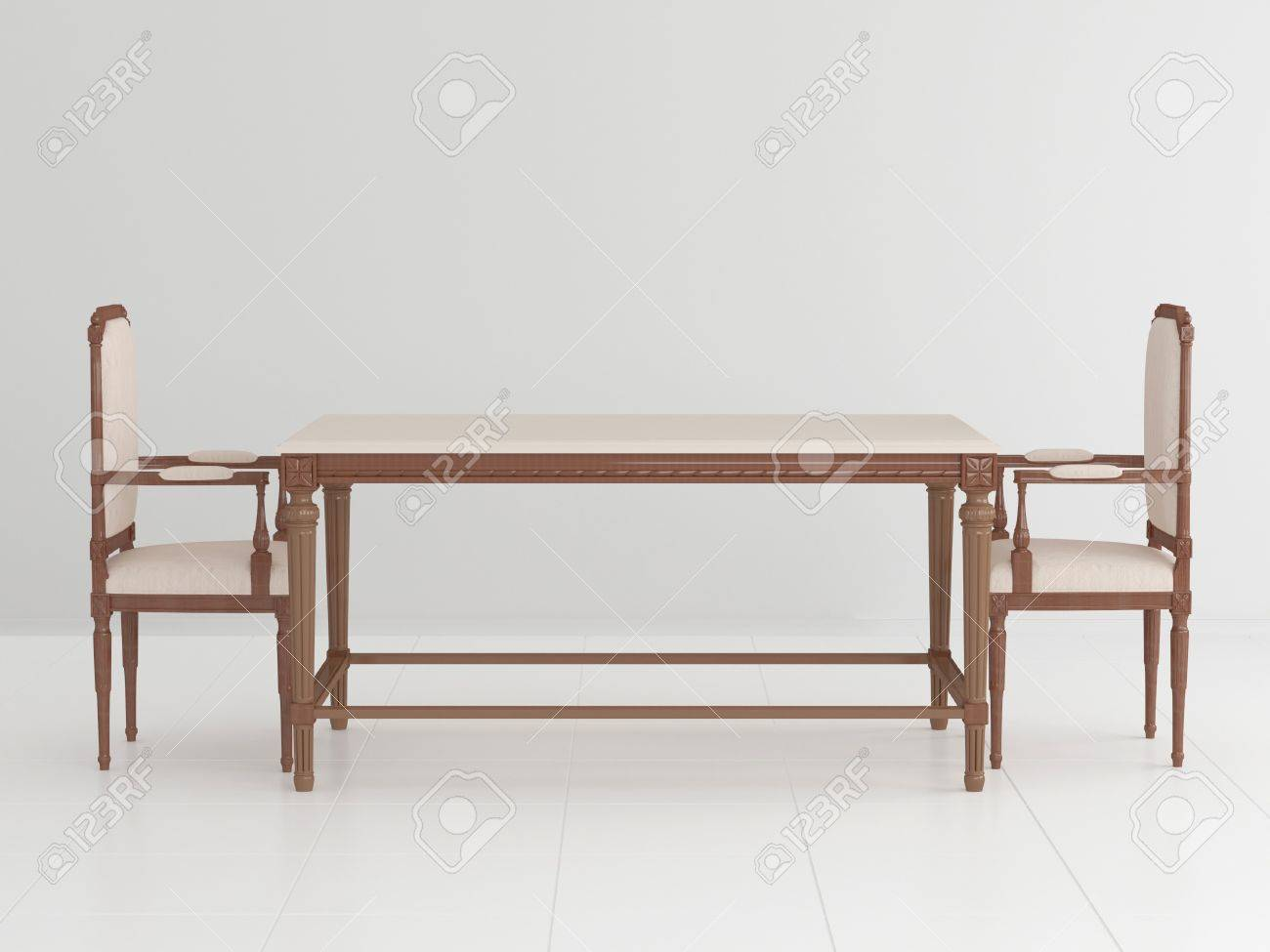 two chair dining table doc mcstuffins and set classical wooden chairs in an empty white room 3d illustration stock
