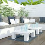 Outdoor Patio Seating Area With Big White Sofa And Table Stock Photo Picture And Royalty Free Image Image 27470896
