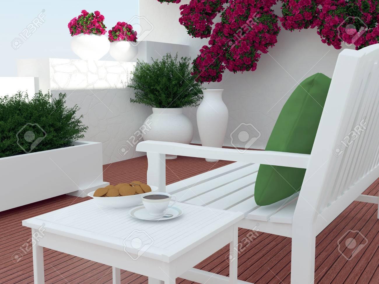 patio exterieur coin salon avec des meubles en bois blanc