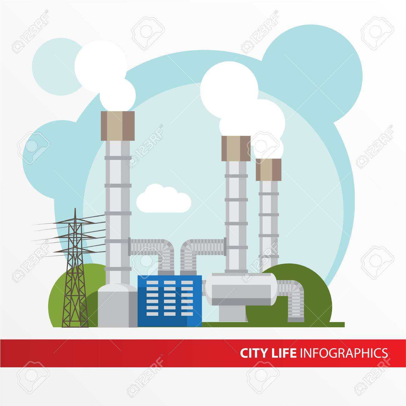 hight resolution of geothermal power station colorful illustration in a flat style city infographics set all types