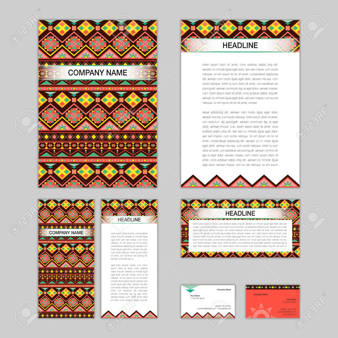 Set Of Abstract Brochure Templates. Leaflet, Banner, Flyer, Business Card.  Ethnic