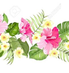 happy holiday card with floral garland wedding garland set with tropical flowers for invitation card [ 1300 x 667 Pixel ]
