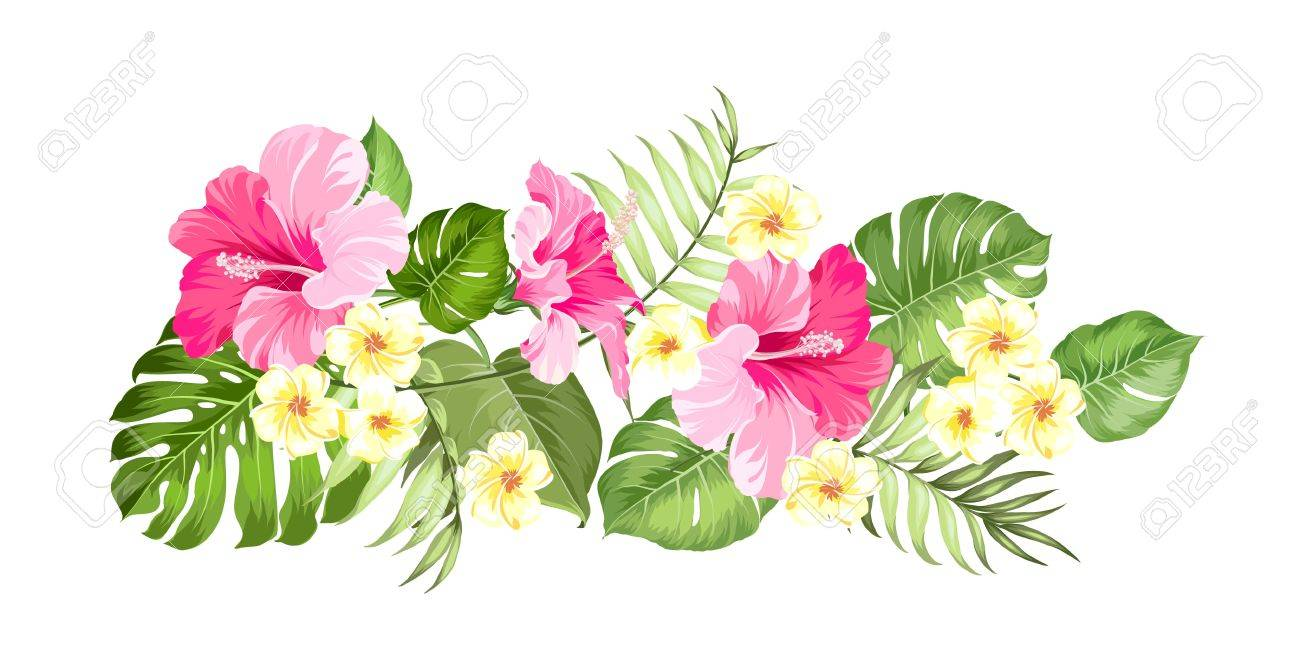 hight resolution of happy holiday card with floral garland wedding garland set with tropical flowers for invitation card