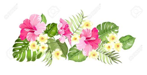 small resolution of happy holiday card with floral garland wedding garland set with tropical flowers for invitation card