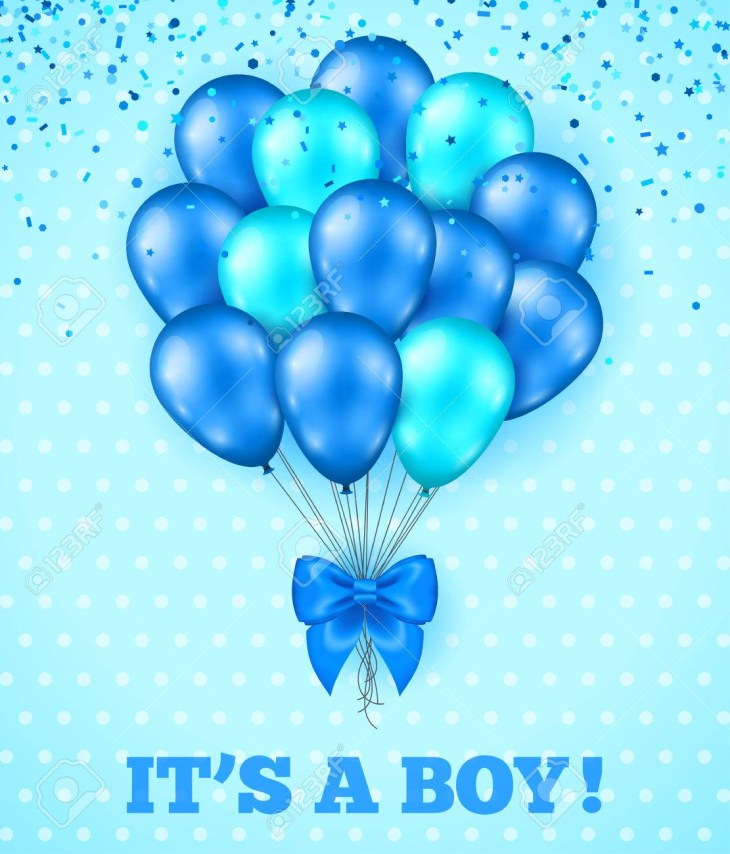 It's a Boy, Baby Shower Background. Vector illustration. Blue Cute Greeting  Card with