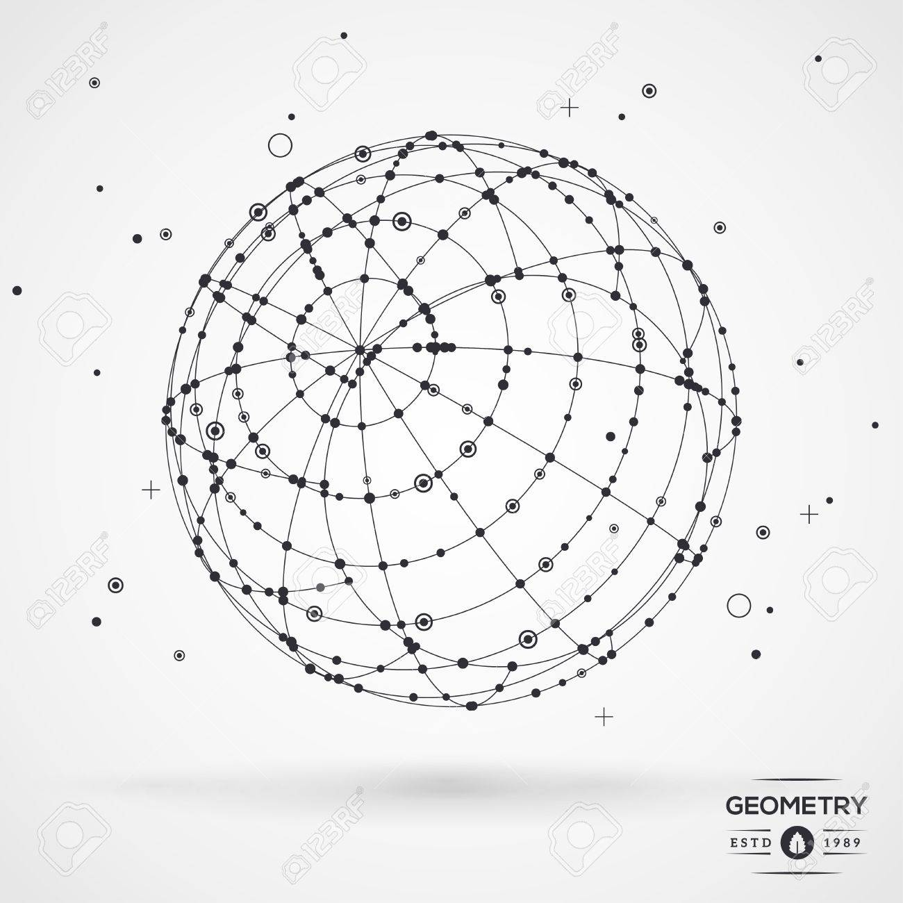Sphere wireframe mesh with connected lines and dots connection