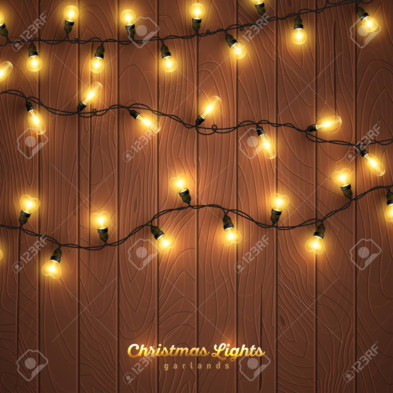 yellow christmas lights on