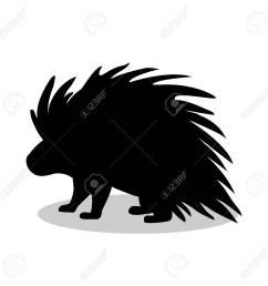 porcupine rodent mammal black silhouette animal stock vector 77736747 [ 1300 x 1300 Pixel ]