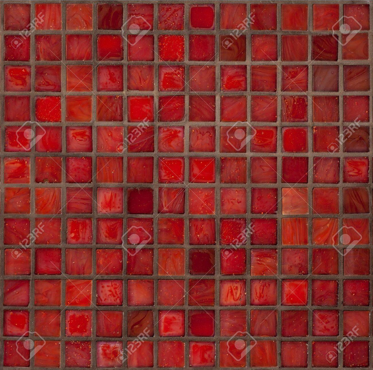 decorative glass tiles in a bright red small squares