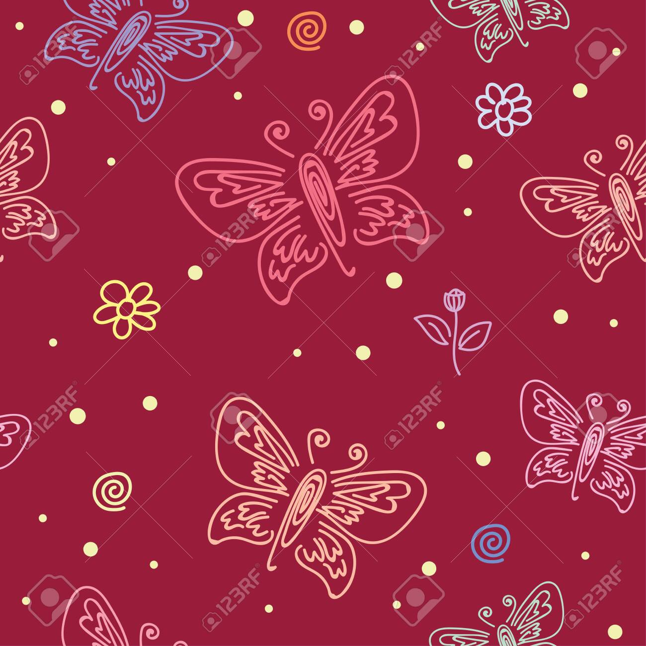 Seamless Pattern With Motifs Of Various Butterflies Butterfly Royalty Free Cliparts Vectors And Stock Illustration Image 121085043