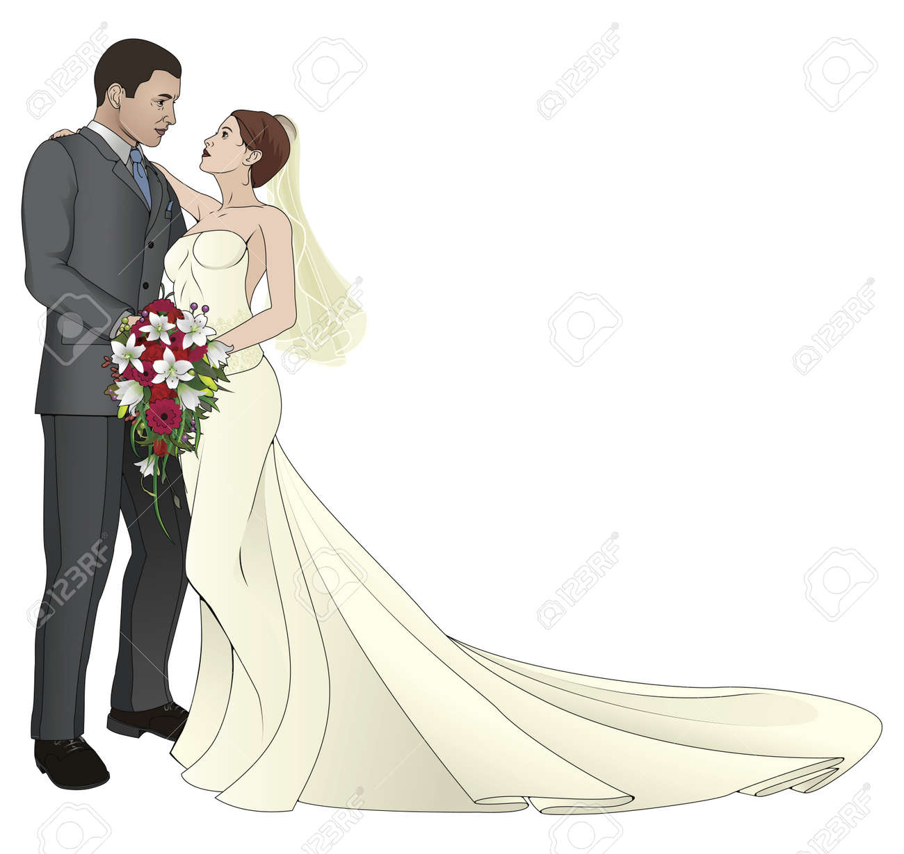 a bride and groom