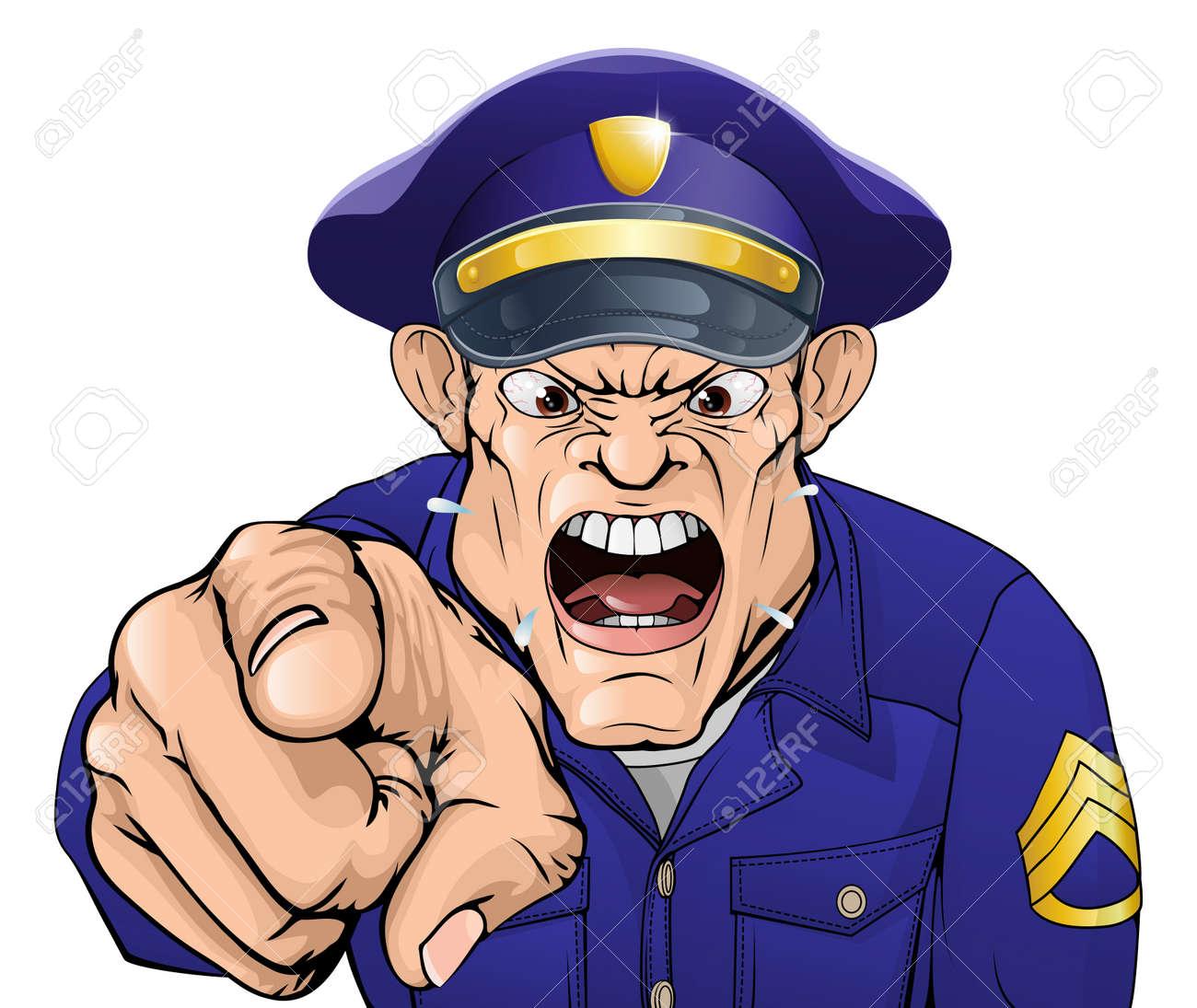 Illustration D Un Flic Policier Dessin Anime En Colere Ou Gardien De Securite En Criant A La Visionneuse