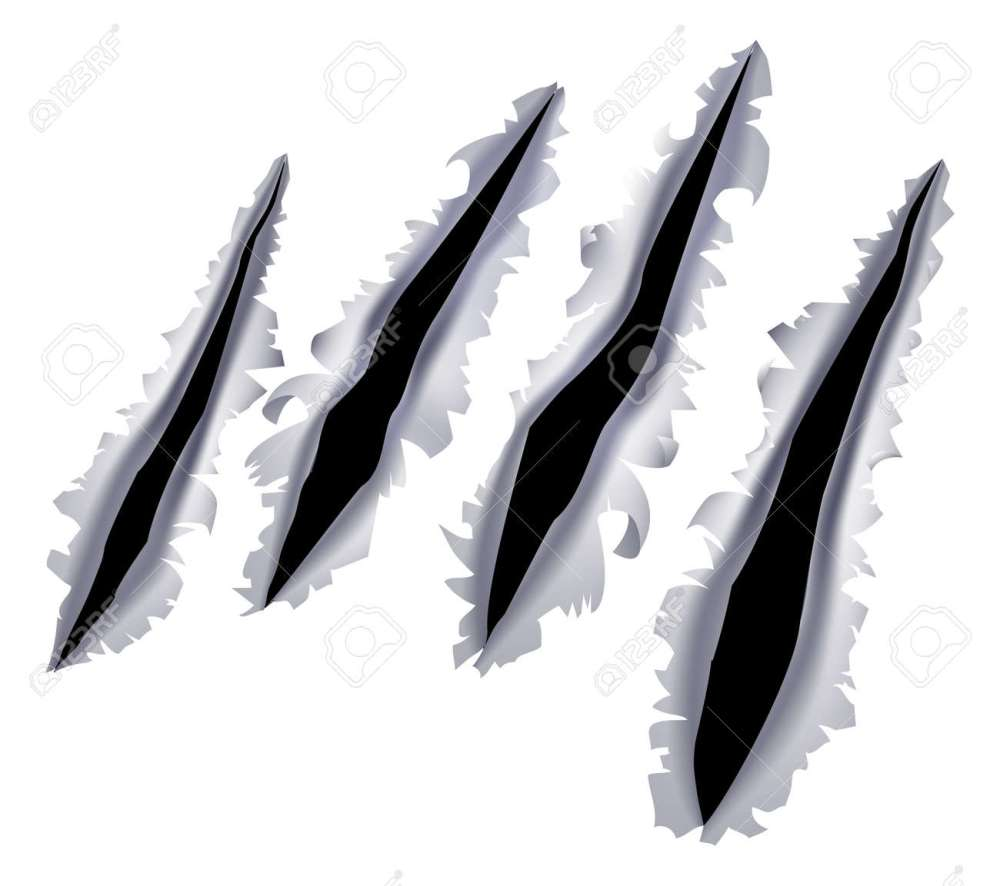 medium resolution of an illustration of a monster claw or hand scratch or rip through a metal background stock