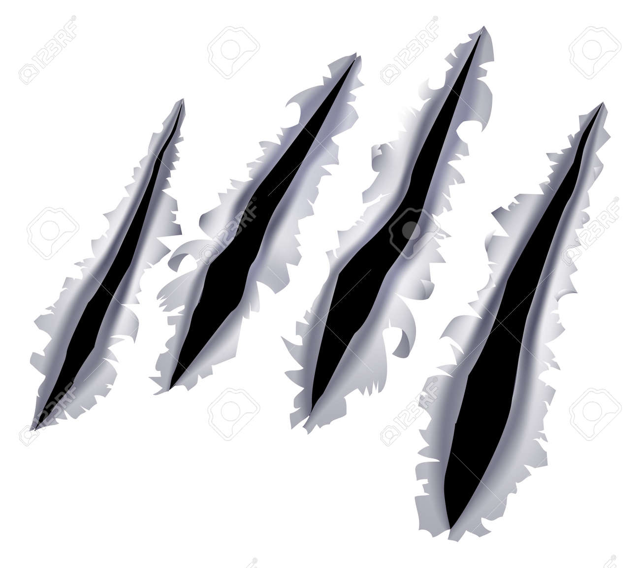 hight resolution of an illustration of a monster claw or hand scratch or rip through a metal background stock