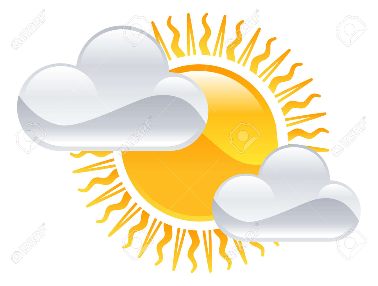 hight resolution of vector weather icon clipart sun and clouds illustration