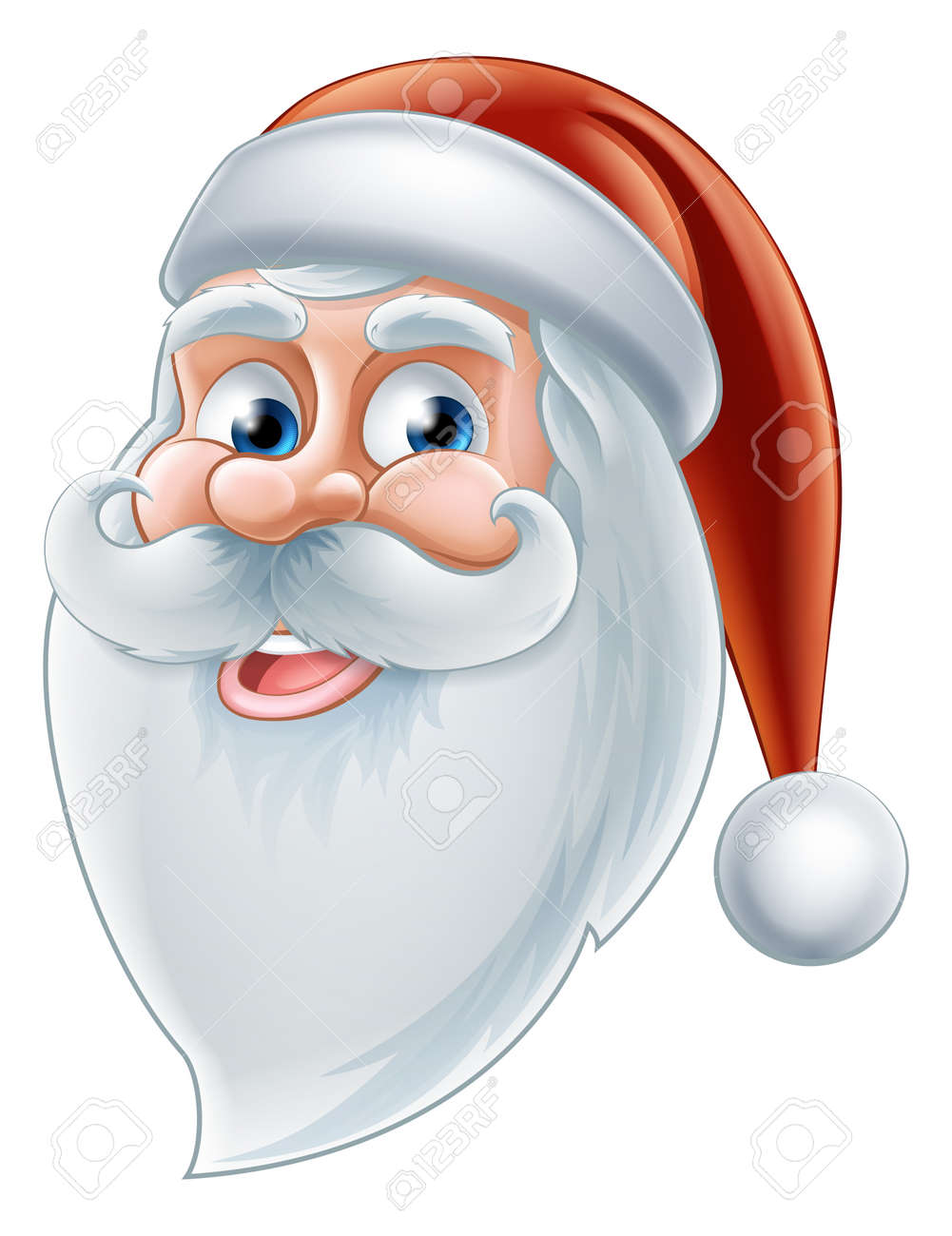 Cartoon Santa Face : cartoon, santa, Illustration, Christmas, Cartoon, Happy, Santa, Royalty, Cliparts,, Vectors,, Stock, Illustration., Image, 32611921.