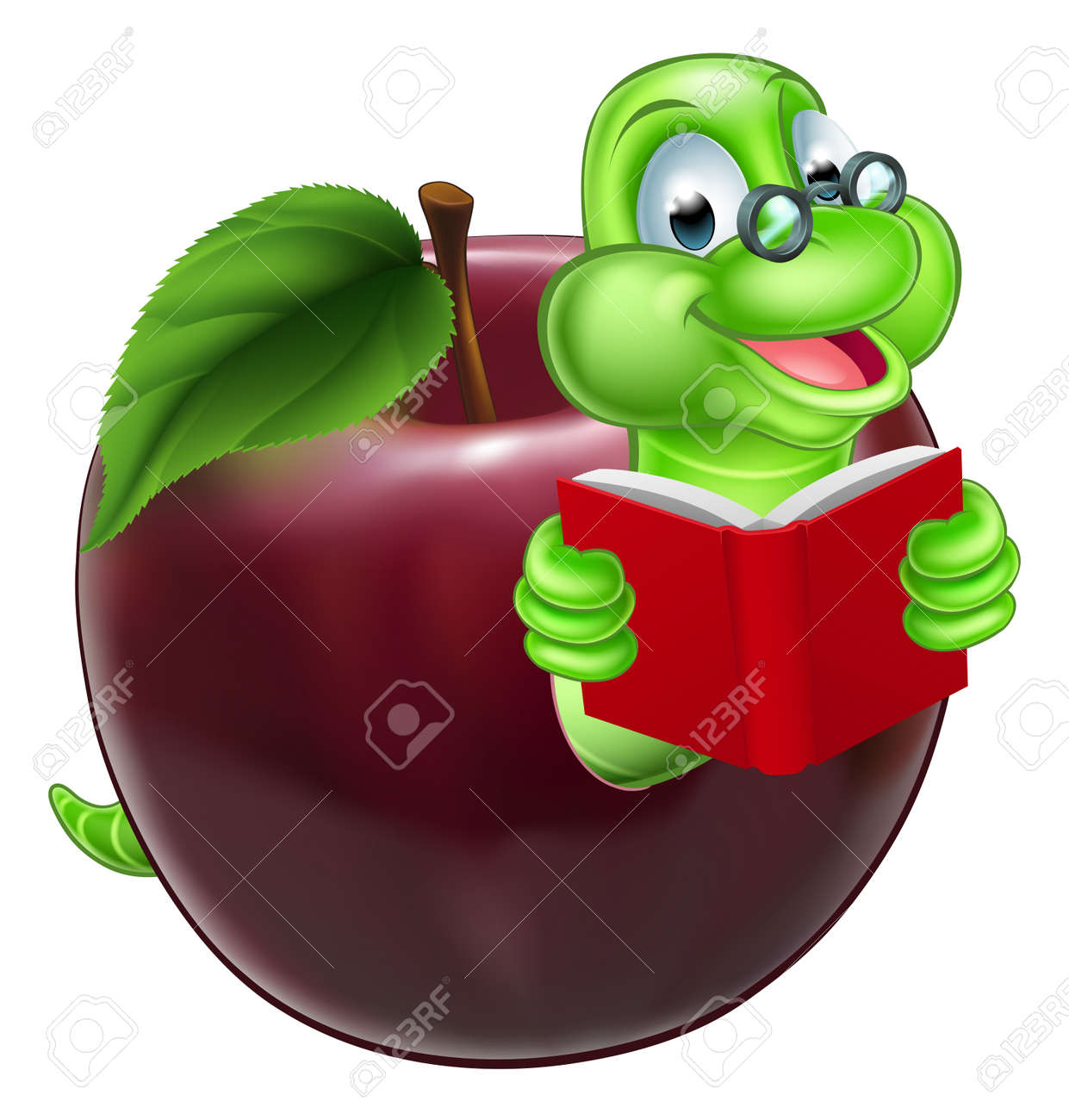 hight resolution of a happy cute cartoon caterpillar bookworm worm or caterpillar reading a book and coming out of