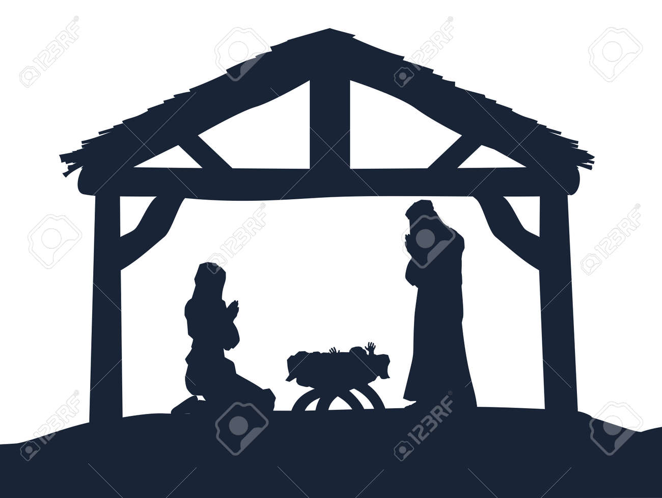 hight resolution of traditional christian christmas nativity scene of baby jesus in the manger with mary and joseph in
