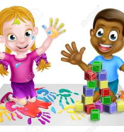 two kids playing with paints and toy building blocks stock vector 54230042 [ 1300 x 851 Pixel ]