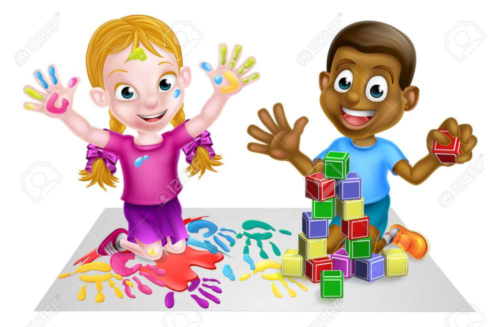 medium resolution of two kids playing with paints and toy building blocks stock vector 54230042
