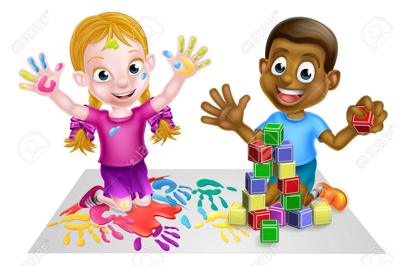 hight resolution of two kids playing with paints and toy building blocks stock vector 54230042