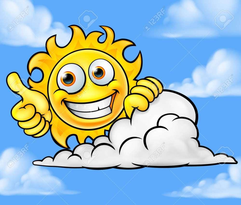 medium resolution of sun cartoon mascot cloud background stock vector 88890764